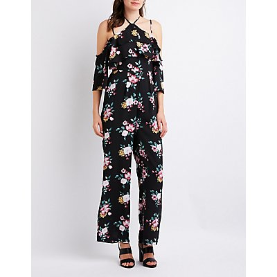 Floral Cold Shoulder Ruffle Jumpsuit
