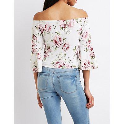Floral Off-The-Shoulder Front-Tie Crop Top