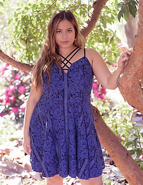 Plus Size Floral Lace Caged Skater Dress