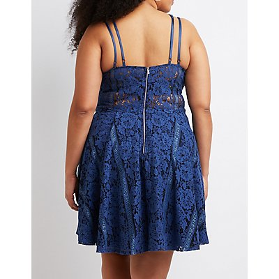 Plus Size Floral Lace Caged Skater Dress