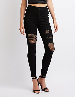 Destroyed Hi-Rise Skinny Jeans