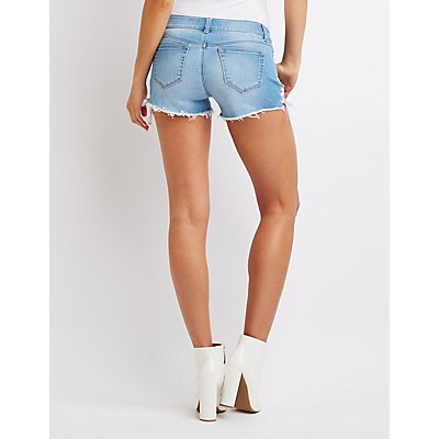 Lace Up Denim Mid Rise Shorts