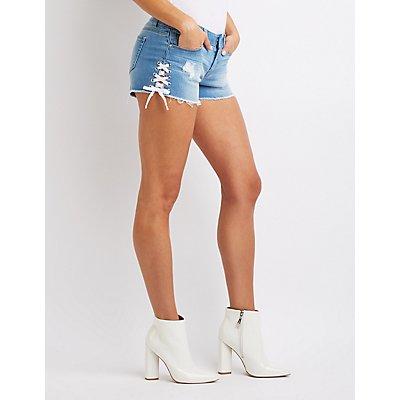 Lace Up Denim Mid Rise Shorts
