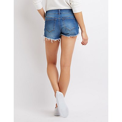 Lace-Up Denim Mid-Rise Shorts