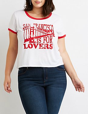 Plus Size Graphic Print Ringer Tee