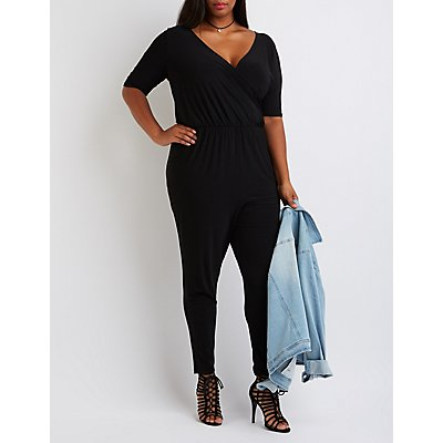 Plus Size Wrap V-Neck Jumpsuit