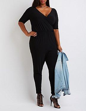 Plus Size Wrap V-Neck Jumpsuit