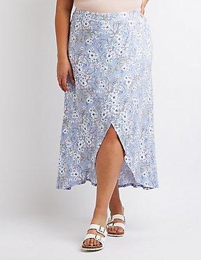 Plus Size Floral Maxi Wrap Skirt