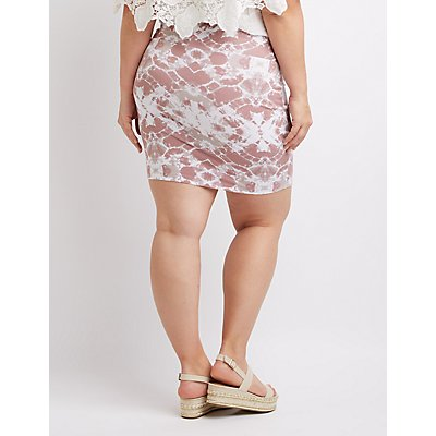 Plus Size Tie Dye Mini Skirt