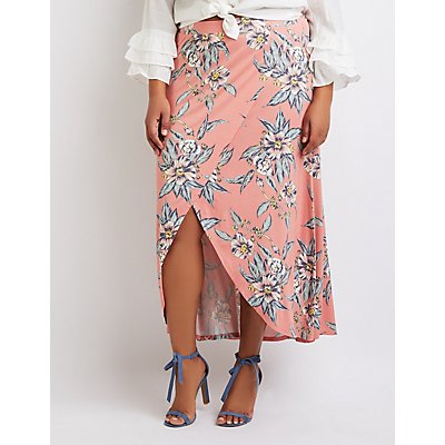 Plus Size Floral Wrap Maxi Skirt