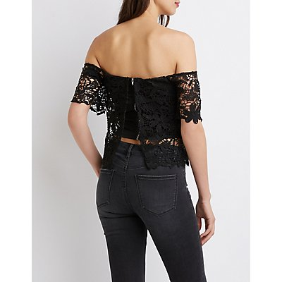 Crochet Notched Off-The-Shoulder Crop Top
