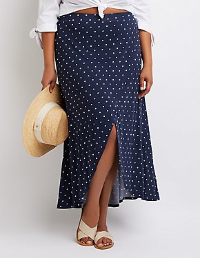Plus Size Polka Dot Wrap Maxi SKirt