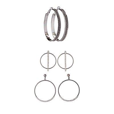 Embellished Hoop Earrings - 3 Pack