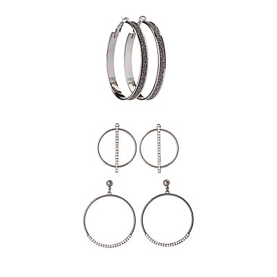 Embellished Hoop Earrings - 3 Pack at Charlotte Russe in Cypress, TX | Tuggl