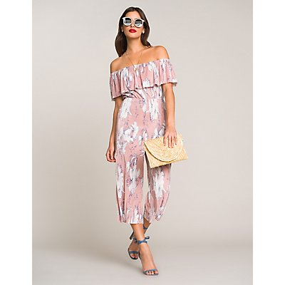 Pleated Floral Off-The-Shoulder Jumpsuit