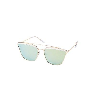 Faux Pearl & Metal Frame Sunglasses
