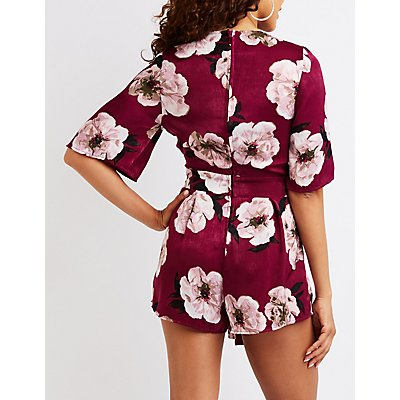 Floral Pleated Romper