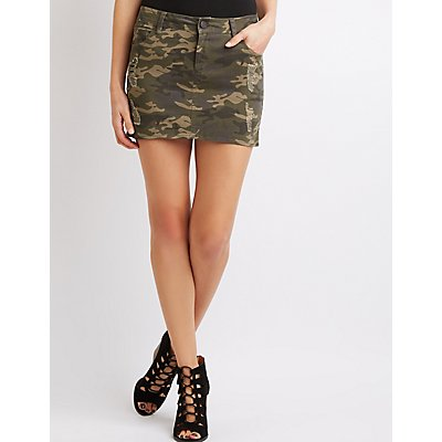 Refuge Destroyed Camo Mini Skirt