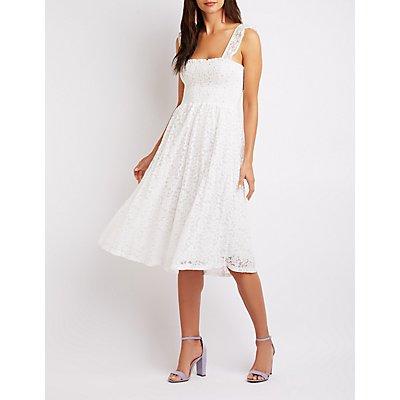 Floral Lace Smocked Skater Dress