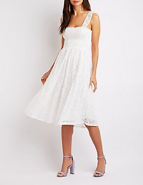 Floral Lace Smocked Skater Dress