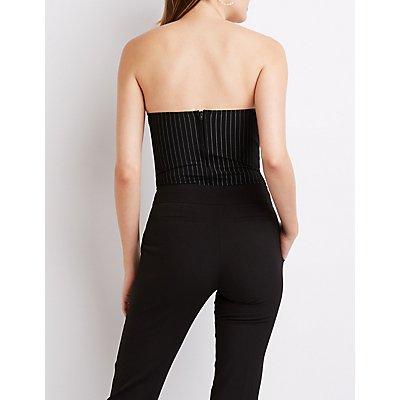 Striped V-Neck Bodysuit