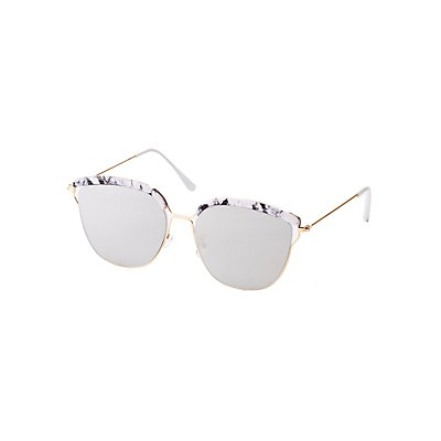 Marble Trim Metal Frame Sunglasses