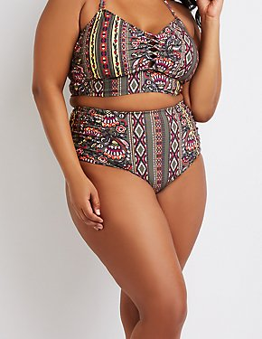 Plus Size Boho Print Caged High-Waist Bikini Bottoms