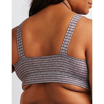 Plus Size Striped Front Knot Bralette