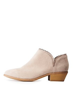 Scalloped Low Ankle Booties