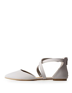 Crisscross Pointed Toe D'Orsay Flats