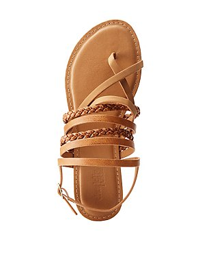 Braided Combo Strappy Flat Sandals