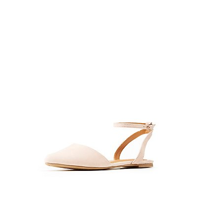 Pointed Toe Ankle Strap Flats