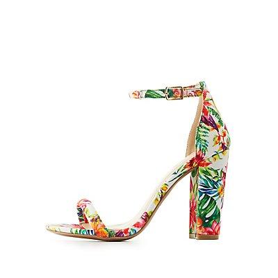 Floral Ankle Tubed Strap Sandals