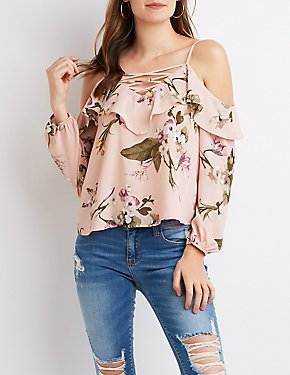 Caged Ruffle Cold Shoulder Top