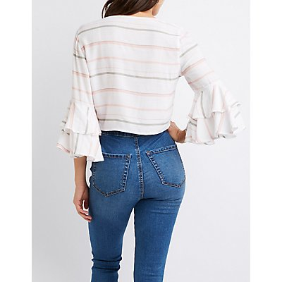 Striped Tie Front Bell Sleeve Crop Top