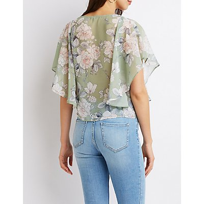 Floral Ruffled-Trimmed Top
