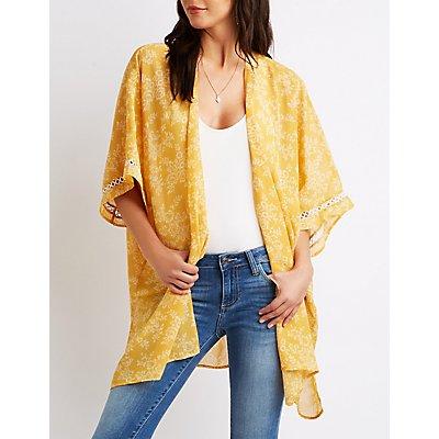 Floral Crochet-Inset Kimono