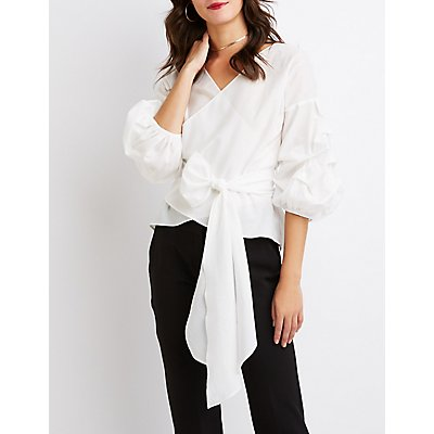 Pintuck Sleeve Surplice Top