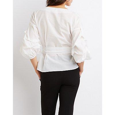 Pintuck Sleeve Wrap Top
