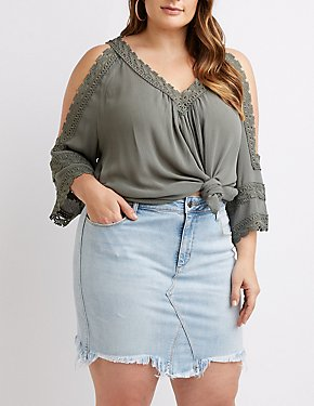 Plus Size Crochet Cold Shoulder Top