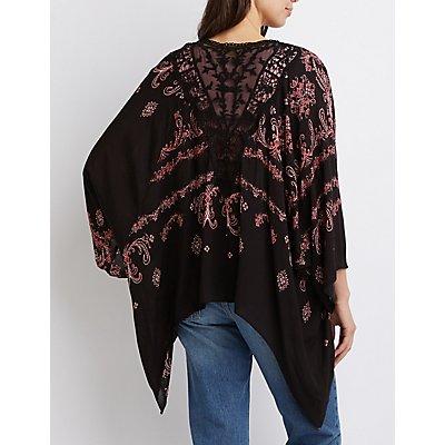 Crochet-Inset Cropped Kimono