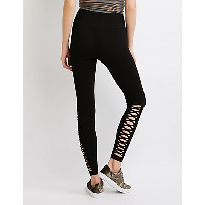 Slashed Cotton Leggings