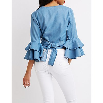 Chambray Ruffle Bell Sleeve Wrap Top