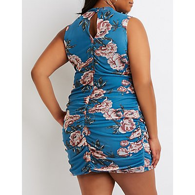 Plus Size Floral Ruched Mesh Bodycon Dress