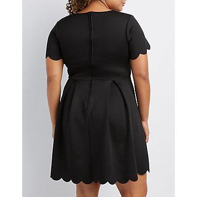 Plus Size Scalloped V-Neck Skater Dress