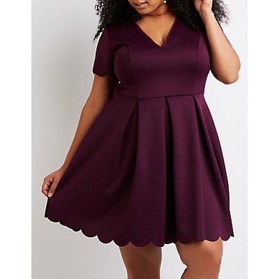 Plus Size Scallop-Trim Skater Dress