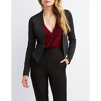 Collarless Open-Front Blazer
