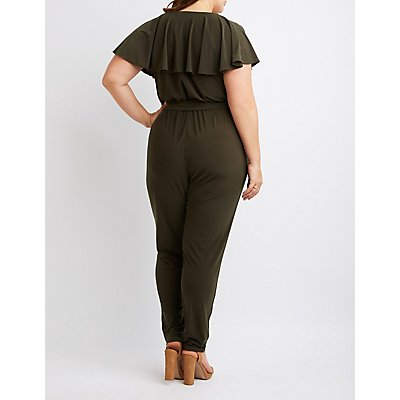 Plus Size Ruffle-Trimmed Jumpsuit