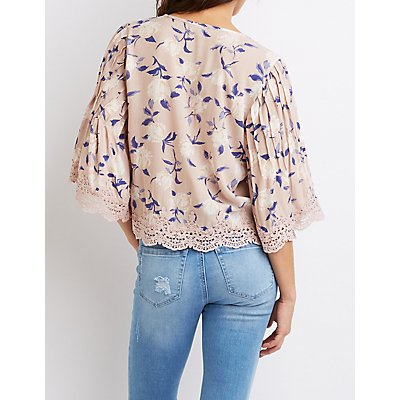 Floral Crochet-Trim Bell Sleeve Top