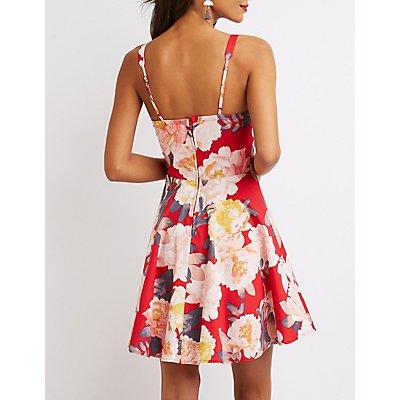 Floral Bustier Skater Dress
